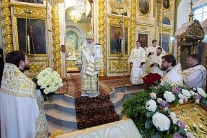 В день памяти свт. Феофана Затворника митрополит Тихон совершил Литургию в Ахтырском соборе