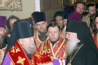 Встреча святых мощей преподобномучениц Елизаветы и Инокини Варвары. Архиепископ Паисий и епископ Бостонский Михаил (Донскофф), 15 декабря 2004
