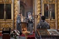 В Четверток Великого канона митрополит Орловский и Болховский Тихон совершил Божественную литургию Преждеосвященных Даров в Ахтырском кафедральном соборе Орла. 15 апреля 2021 г.