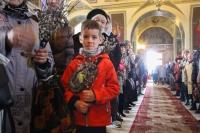 В праздник Входа Господня в Иерусалим (Вербное воскресенье) митрополит Орловский и Болховский Тихон совершил Литургию в Ахтырском кафедральном соборе Орла. 25 апреля 2021 г.