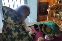 В День Святого Духа митрополит Орловский и Болховский Тихон совершил Литургию в Свято-Троицком храме Орла в сослужении схиархимандрита Илия (Ноздрина). 21 июня 2021 г.