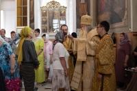В канун Недели 1-й по Пятидесятнице, Всех святых, митрополит Орловский и Болховский Тихон совершил в Ахтырском кафедральном соборе Орла всенощное бдение. 26 июня 2021 г.
