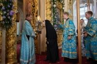 В канун празднования Ахтырской иконе Божией Матери митрополит Орловский и Болховский Тихон совершил всенощное бдение в Ахтырском кафедральном соборе Орла. 14 июля 2021 г.