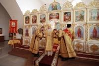 Митрополит Орловский и Болховский Тихон возглавил Божественную литургию в Георгиевском храме города Болхова. 10 октября 2021 г.